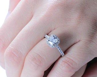 Princess Cut Sterling Silver CZ Engagement Wedding Ring Women's SZ 4-10 Ss12137