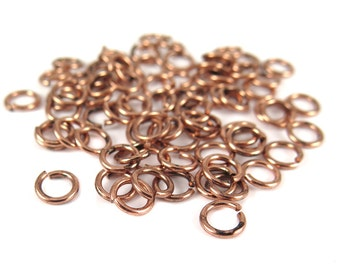 Antiqued Copper 7mm Round Jump Rings - 12 grams (approximately 80x) (18 gauge) K855-E
