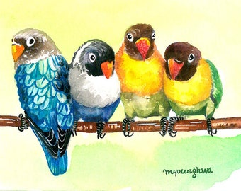 ACEO Limited Edition 1/25 - Happy together, Lovebirds art print of an original ACEO in ink and watercolor, Gift for bird lovers