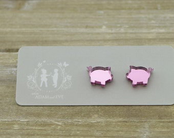 Pink Mirrored Acrylic Pigs Stud Earrings - Laser Cut Earrings - Mirrored Earrings - Farmyard Jewelry - Quirky earrings - Hypoallergenic