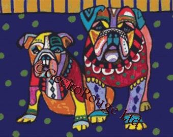 Modern Cross Stitch Kit 'English Bulldogs' By Heather Galler, Dog Cross Stitch, Counted Cross Stitch, Colorful art