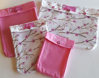 Cherry Blossom Ouch Pouch Set 4 Sizes Clear Front Pocket Luggage Organizers Travel Totes Cosmetics First Aid Toiletries Diaper Bag Carry On