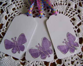 Butterfly Gift Tags Purple Baby Shower Birthday Party Favor Label set of 6
