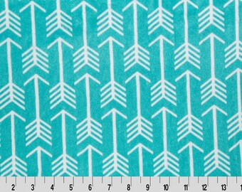 MINKY - Teal/Snow Premier Archer Arrows Cuddle Minky from Shannon Fabrics
