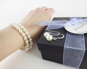 Bridesmaids Pearl Bracelet Bracelet, Bridesmaids Pearl Set,  Bridesmaids Jewelry Set, Bridesmaids Gift, Bridal Bracelet, Bridesmaids Set