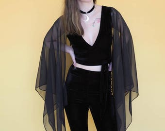 Stevie Nicks Velvet and chiffon sleeves wrap crop top, boho, gypsy, witch