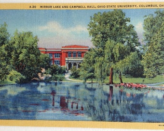 OSU, Ohio State University, Vintage Postcard, Ohio State postcard, Buckeyes, Mirror Lake, Campbell Hall, Columbus Ohio, Linen postcard, 1936