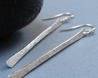 Walking Stick Earrings, Sterling Silver Linear Earrings, Textured Forged Modern Minimalist Silver Earrings