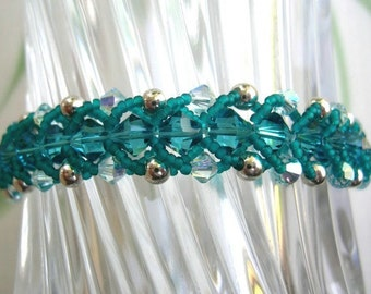 Turquoise Blue Bracelet - Woven Crystal Beads in Flat Spiral Pattern, Swarovski Elements, Silver Accents