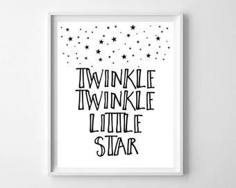 Printable Black and White Twinkle Twinkle Little Star, Nursery Rhyme printable, Twinkle Twinkle Little Star Print, modern nursery print