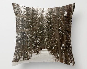 Winter Pillow Throw Cover, Aluminum Grey, Man Cave Decor, 22 x 22, 24x24, 26x26, 28x28, 30x30, Woodland Toss Cushions, Handmade in Canada