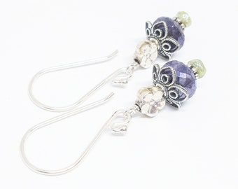 Mystic Sapphire and Vesuvianite Gemstones . Sterling Silver Dangle Drop Earrings . Blue Green Dangle Earrings . Free Shipping . E18039