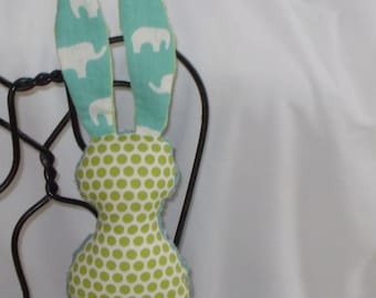 Organic Spring Green and Pool Elephant and Polka Dots Bits The Bunny Plush Rattle