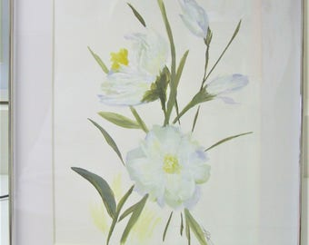 Original Acylic Painting Of White Flowers Framed