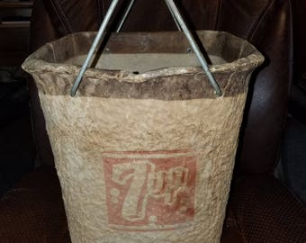 Antique Paper Mache Advertising 7UP Cooler