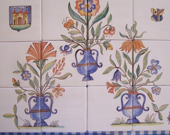 Majolica Colorful and charming hand painted Ceramic Tile Mural