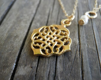 Spring Sale, Gold Necklace, Bridal Necklace, Lace Jewelry, India Filigree Gold Necklace, Bridesmaid Jewelry, 14k Gold Filled Necklace