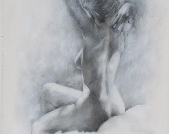 Classic Black and White Charcoal Drawing of the Figure - Large Fine Art Print