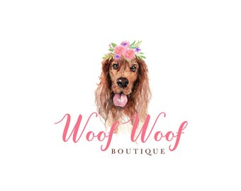 Premade Logo| Logo Design | Watercolor Logo | dog logo | Pet Logo | business logo | setter logo | pet shop logo | branding Kit