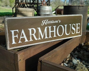 """Distressed Primitive Country Wood Sign - Your Name Farmhouse 5.5"""" x 19"""""""