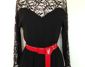 Black Long Sleeved Vintage Dress / Thin Lacy Vintage Fashion Dress / Matching Red Patent Leather Belt