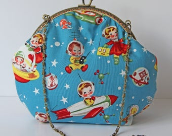 Cute Retro Rocket Rascals Evening Purse Bag. Fully Lined. Long or Short Chain Handle