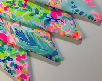 Custom Flag Banner, Bunting made with Lilly Pulitzer Multi Catch The Wave print fabric