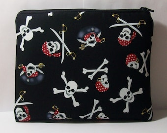 "Pirates Bag, Pipe Pouch, Pipe Case, Pipe Bag, Skulls Pouch, Padded Pipe Pouch, Stoner Gift, 420, Smoke Bag, Zipper Bag, 7.5"" x 6"" - X LARGE"