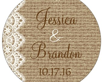 60 - 2.5 inch Glossy Personalized Burlap Wedding Stickers - hundreds of designs to choose from WR-187