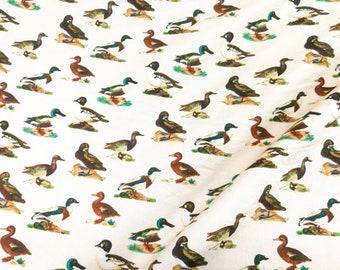 Quilt Cotton Fabric Retro Vintage Duck in Cream Fat Quarter Half Yard or Yard