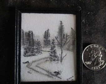 miniature drawing, doll house accessories