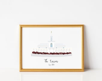 LDS Temple With Customized Personal Name or Saying-  Illustration