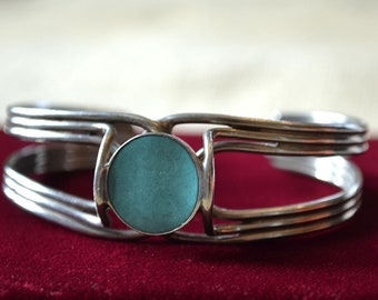 Turquoise Cuff Bracelet, Sterling Silver Bracelet, Turquoise Boho Bracelet, Silver Cuff, Southwestern Sterling Cuff