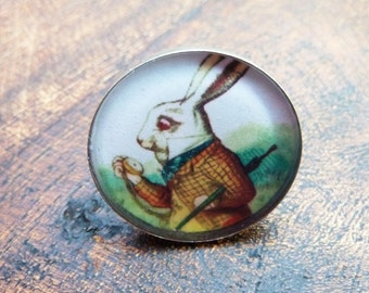 Alice in Wonderland Vintage White Rabbit Resin Ring with adjustable band.