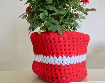 Red and White Crochet Bin - Upcycled T-Shirt Yarn Basket