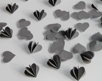 10 hearts 3D - for wedding decoration - 2 cm - grey