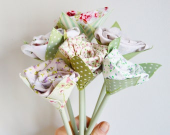 Faux Flowers - Bunch of 6 Fabric Flowers