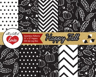 Black Digital Paper Hand Draw Autumn Background Black and White Thanksgiving Digital Scrapbooking Pattern Fall Pumpkins and Acorns