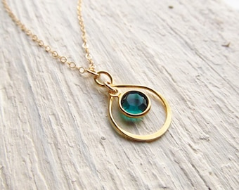 Birthstone Infinity Necklace, 14kt Gold Filled Jewelry, Birthday Gift for Wife, Friend, Daughter, Girlfriend, Gold Birthstone Pendant