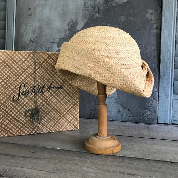 1920s Straw Cloche Hat, Saks Fifth Ave, Original Box, Flapper, Downton Abbey Style by Etsy