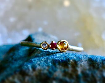 Citrine + Ruby + Pink Sapphire Stackable Ring