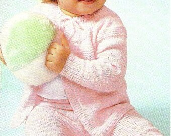 Vintage Pattern, Baby, Sweater and Leggings Set  , sizes 1 and 2 , knitting pattern,  PDF pattern