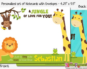 """Jungle Note Cards - Set of Personalized Note Cards - 4.25"""" x 5.5"""" - Double-Sided Thank you Cards - Children Stationery - Kids Notecards"""