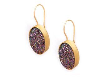 Druzy Drop Earrings - Peacock Druzy in Gold Earrings - Large Druzy Earrings - Oval Druzy - Dangle Earrings