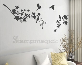 Tree Branch Wall Decal Birds Decor Vinyl Sticker Graphics for Home - K065