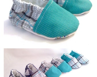 Baby Boy Booties | Fabric Shoes -  Plaid & Check (Blue, Navy, Gray, Turquoise)
