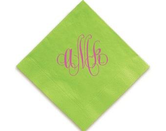 Swirl Monogram Napkins, Monogram Guest Towels, Wedding Napkins, Party Napkins, Custom Monogram, Assorted Colors for napkin and monogram