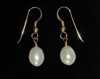 14K Gold-filled Earrings, Beutiful Freshwater Drop Pearls