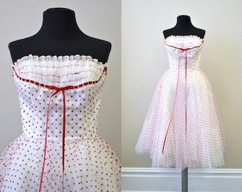 1950s Sweetheart Polka Dot Tulle Dress