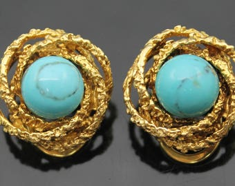GIFT Idea !!!! ESTATE Graceful Genuine Turquoise Textured Solid 14K Yellow Gold Clip On Earrings